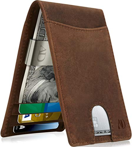 Slim Bifold Wallets For Men - Money Clip Wallet RFID Front Pocket Leather Thin Minimalist Mens Wallet Credit Card Holder (Money Clip Id Wallet)
