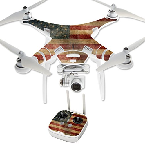 MightySkins Protective Vinyl Skin Decal for DJI Phantom 3 Professional or Advanced Quadcopter Drone wrap Cover Sticker Skins Vintage Flag Review
