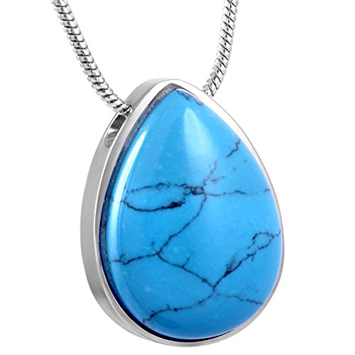 Murano Glass Teardrop Cremation Necklace Stainless Steel Ashes Keepsake Memorial Jewelry (Turquoise)