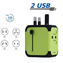 All-In-One International Travel Plug Adapter Wall Charger with 2 USB Ports Universal AC Outlet Plugs Covers 150+Countries Europe, UK, Germany, Canada, Mexico, France,China, Australia and more, Green
