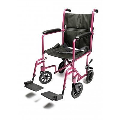 Everest & Jennings Aluminum Transport Chair with 5 Inches Swivel Casters, 19 Inches Seat, Pink ()