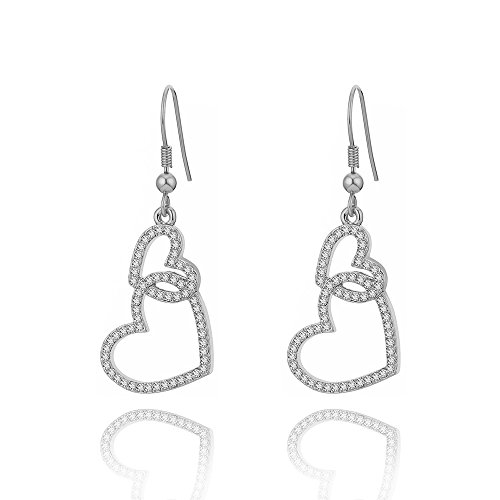Dangle Earring for Women, Double Linked Heart Drop Earring Girls Vintage Earring Anti-allergy Stainless Steel Hook Earring with CZ Crystal (Silver Plated Linked Heart) (Double Heart Dangle Earrings)
