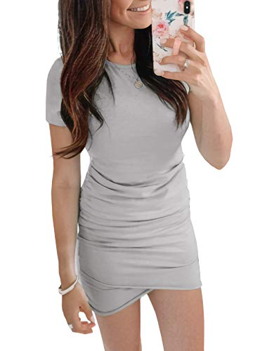 BTFBM Women's 2019 Casual Crew Neck Ruched Stretchy Bodycon T Shirt Short Mini Dress (104Grey, Small)