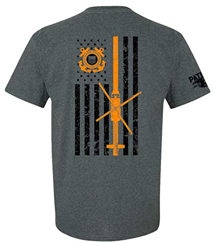 (Patriot Apparel US Coast Guard USCG U.S. Armed Forces T-Shirt Tee (Large, Dark Grey) )