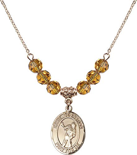 Bonyak Jewelry 18 Inch Hamilton Gold Plated Necklace w/ 6mm Yellow November Birth Month Stone Beads and Saint Sebastian/Lacrosse ()