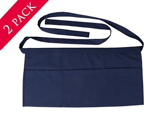SEW UR LIFE Waterdrop Resistant 3 big Pockets Navy Waist Apron (2 SET) Kitchen Restaurant Bistro Cafe Bar Pub Cake Shop Bakery Unisex Half Aprons for Chef, Baker, Servers, Waitress, Waiter (Blue 3 Pocket Waist Apron)