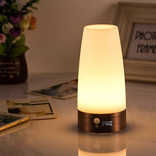 - Light-sensitive Table Lamp Wireless PIR Motion Sensor Retro Night Light Lamp with 3 Modes LED Night Light,battery-operated, Desk Lamp
