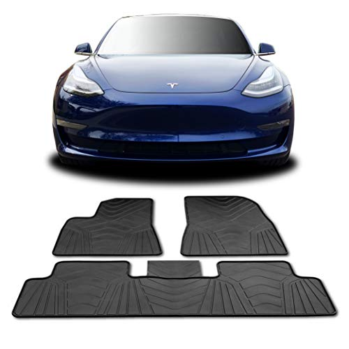 #1 Tesla Model 3 Floor Mats - All Weather Fits 2017-2019 (Full Set Front & Rear) Accessories - Heavy Duty & Flexible Eco-Friendly All Season Latex Material by HEA