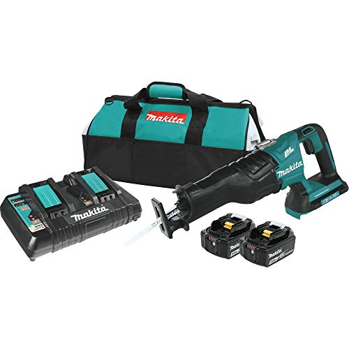 Cordless Recipro Saw Kit - Makita XRJ06PT-R 18V X2 LXT Lithium-Ion (36V) Brushless Cordless Recipro Saw Kit (5.0Ah) (Renewed)