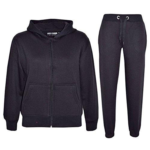Black Plain Suit - a2z4kids Kids Girls Boys Plain Tracksuit Hooded Hoodie Bottom Jog Suit Joggers 7-13 Year