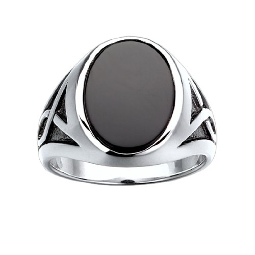 (J.Goodman Sterling Silver Onyx Ring with Black Rhodium Accent Detail. Finger Size)