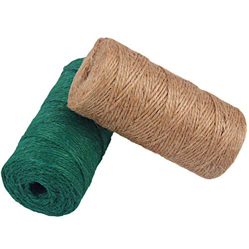 McFanBe Natural Jute Rope Twine 656 Feet 3 Ply 2mm Colored String Cord for DIY Arts Crafts Gardening Bundling Gifts Decoration (Dark Green+Natural)