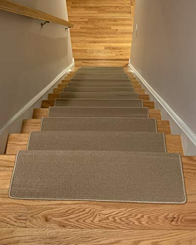 Bullnose Indoor Skid Slip Resistant Carpet Stair Treads with Adhesive Strips (10 ½ inch x 30 inch) (Beige, Set of 13) (Stair Tread Bullnose)