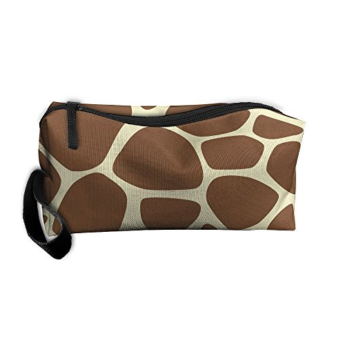(Roomy Cosmetic Bags With Zipper For Travel Giraffe Print Portable Ladies Hand Bag)