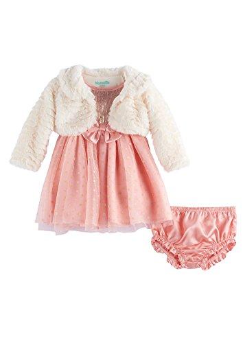 Nannette Baby Girl Faux Fur Shrug & Sequin Special Occasion Dress Set, Peach (24 Months)