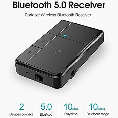 GadgetMarket Bluetooth V5.0 Receiver, Streambot Mini Bluetooth Car Aux Adapter / 10Hrs Hands-Free Car Kits/Portable Wireless Music Adapter for Car (CSR/HFP/HSP/A2DP/AVRCP/Built-in Mic): Car Electronics