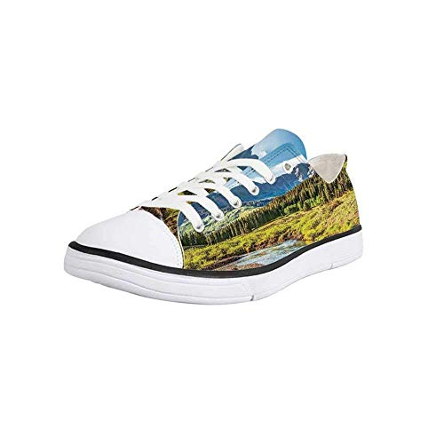 Canvas Sneaker Low Top Shoes,Lake House Decor,Mountain Vista with Thick Forest Trees Mountain Flowing River Grass Cloudy Sky Valley Women 7 (Valley Sofa Vista)