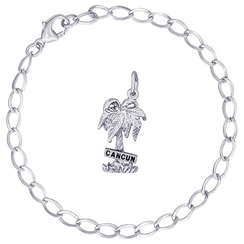 Rembrandt Charms Sterling Silver Cancun Palm Tree Charm on a Curb Link Bracelet, 7