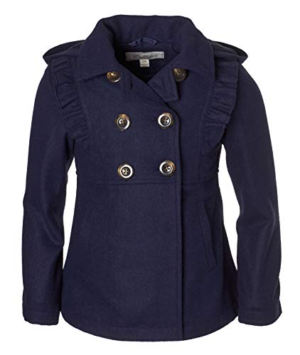 Cremson Girls' Wool Blend Hooded Ruffle Winter Dress Pea Coat Jacket - Navy (Size 4)