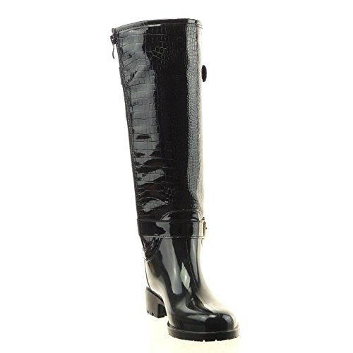 Sopily - Chaussure Mode Botte Bottes de Pluie Montante femmes Peau de serpent boucle Talon bloc 3.5 CM - Intérieur fourrure synthétique - fourrée - Noir