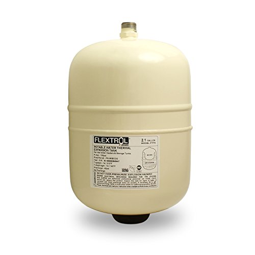 Flextrol Thermal Expansion Tanks - For Hot Water Heaters 2.1 Gallons, Carbon Steel Shell, Stainless Steel 3/4 Inch MIP Connection, Butyl Diaphragm, 150 PSI, 210 Degrees Fahrenheit, Almond Color