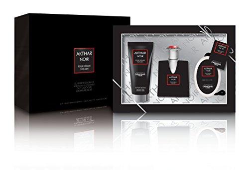 Akthar Noir Men's 3 Piece Gift Set Includes Eau De Toilette Spray, 2-In-1 Body Wash & Shampoo And Soap On A Rope - Impression of Guy Laroche Paris Drakkar Noir - Noir Gel Eau De Toilette