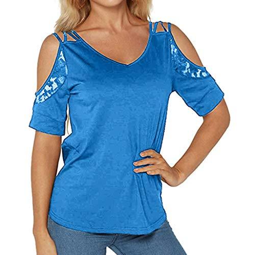 Women's Summer Short Sleeve V Neck Solid Lace Cold Shoulder Loose T Shirt Top Side Split High Low Curved Hem -