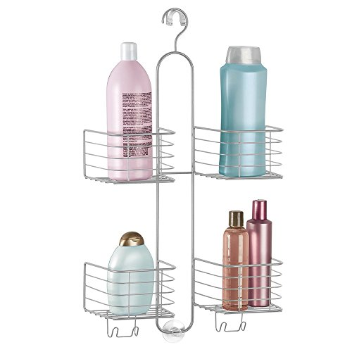 mDesign Bathroom Shower Caddy for Handheld Shower Head - Large, Silver