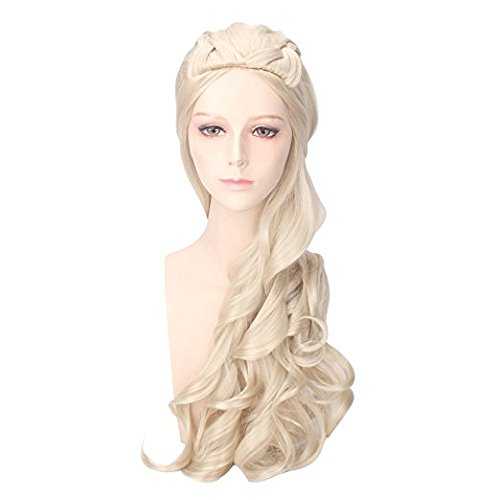 Price comparison product image Saundra Peal Cosplay Wig Daenerys for Game of Thrones Season 7 Tangaryen khleesi Long Curly Wave Synthetic Hair with Braids for Christmas Pary Costumes Wigs (Light blonde)