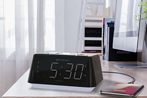 Emerson Radio ER100104 Wireless Charging Alarm Clock with Temperature Detector, Night Light, USB Charging and 1.2 White LED Display