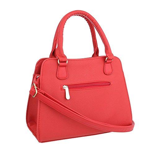 iTal-dEsiGn Damentasche Mittelgroße Schultertasche Handtasche Kunstleder TA-C2334 Rot
