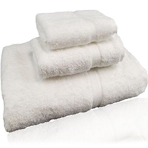 Luxury Bath Towel Gift set in personal bag, 3 Piece-set :Bath towel,Face towel and hand towel- Softness and Absorbency,100% Cotton –White.