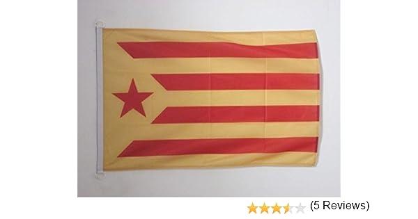 AZ FLAG Bandera de CATALUÑA ESTELADA VERMILLA 90x60cm Uso Exterior - Bandera Catalunya INDEPENDENTISTA GROGA 60 x 90 cm Anillos: Amazon.es: Hogar
