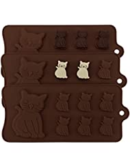 Cat Molds, Beasea 3pcs Cat Silicone Mold Candy Fondant Chocolate Ice Molds Cake Decoration Non Stick Baking Tools