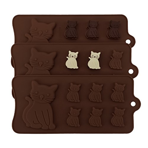 Cat Silicone Mold, Beasea 3pcs Kitty Cat Chocolate Mold Candy Fondant Chocolate Ice Molds Cake Decoration Non Stick Baking -