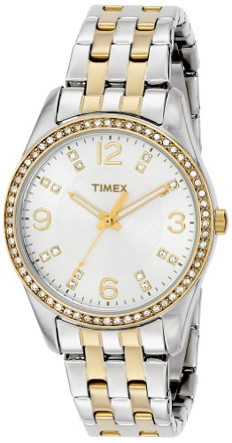 Timex Women's T2P389 Swarovski Crystal-Accented Stainless Steel Watch - Timex T2p389