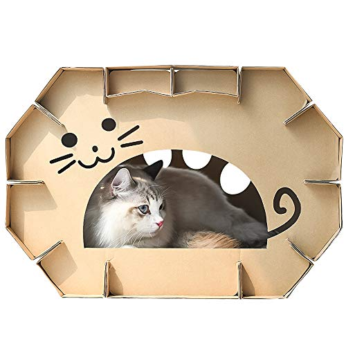 Dr.NONO Cat House Scratcher Post Cardboard Condo Cave with Catnip,Pet House Apartment,Made of Recyclable Cardboard…