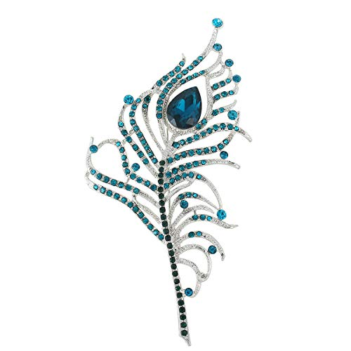 - EVER FAITH Equisite Peacock Feather Brooch Green Austrian Crystal
