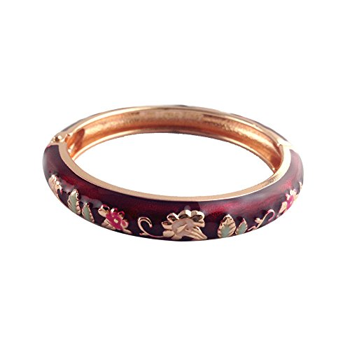 UJOY Classic Bracelet Bangle Morning Glory Flowers Cloisonne Jewelry for Kids Gifts Box 55D08 red (Bangle Silver Bamboo Bracelet)