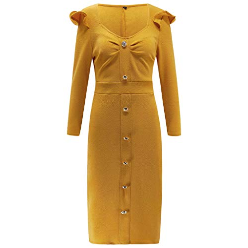 Deep V Long Sleeve Maxi DressWomen Wrap Ruched Party Yellow