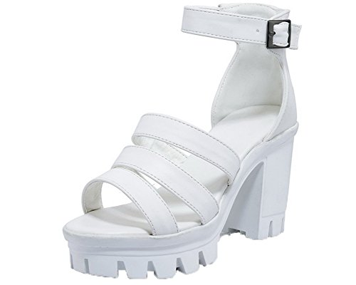 Sandals High White Women's WeenFashion Open Toe Buckle CA18LB04764 Pu Heels w0w7xXqR