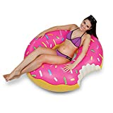 Gigantic Donut Pool Float, Strawberry Frosted with Sprinkles, Pink Swim Ring 48 Inches