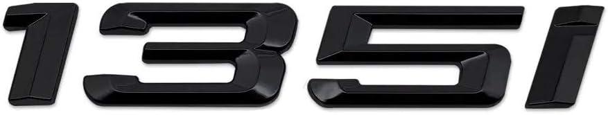 Noir Brillant 135i Caract/ères Nombres Lettres Arri/ère Couvercle de Coffre Badge Embl/ème Compatible Pour 1 Series E81 E82 E87 E88 F20 F21 F52 F40