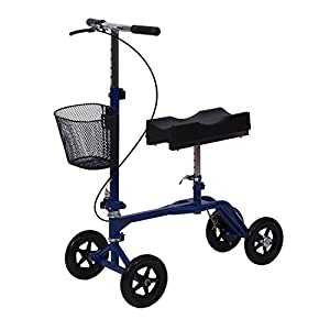 Alitop Steerable Foldable Knee Walker Scooter Turning Brake Basket Drive - Blue