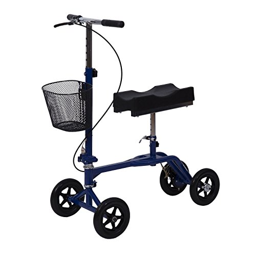 Alitop Steerable Foldable Knee Walker Scooter Turning Brake Basket Drive – Blue
