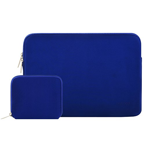 Mosiso Water Repellent Lycra Sleeve Bag Cover for 15-15.6 Inch MacBook Pro, Notebook Computer with Small Case, Royal Blue