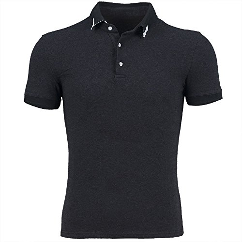 Mens Cotton Business Short Sleeved Polo Shirt Black M