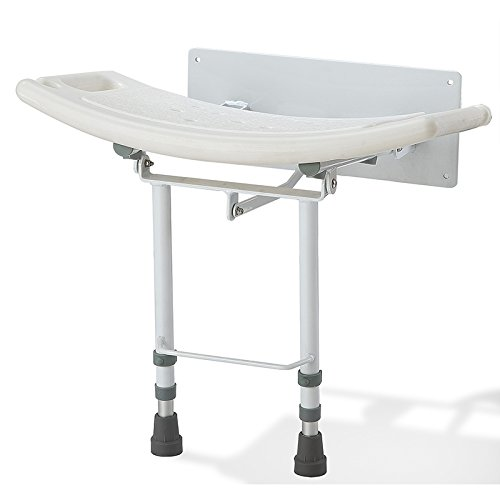 Elite Care ECSS05W Fold down wall mounted shower seat with legs (Chair 2' Seat)