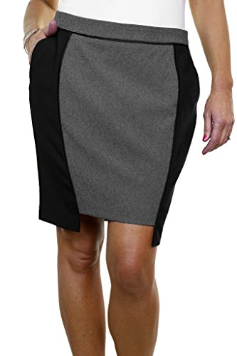 ICE (2525-1) Fully Lined Washable Office Day Tulip Mini Skirt Black Grey ()