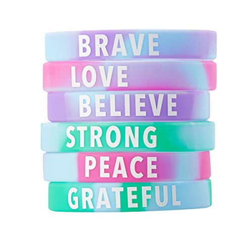 Juvale Inspirational Rubber Bracelets - 36-Pack Silicone Wristbands with 6 Positive Word Designs, Motivational Gifts, Party Favors for Kids, Teens, Adults -
